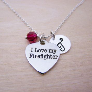 Firefighter Charm Necklace -  Swarovski Birthstone Initial Personalized Sterling Silver Necklace / Gift for Her - Firefighter Necklace