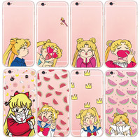 Ultra Thin Sailor Moon Phone Case for iPhone 6 7 6Plus 5S Cute Cartoon Soft Silicone Clear Transparent TPU Back Cover copue