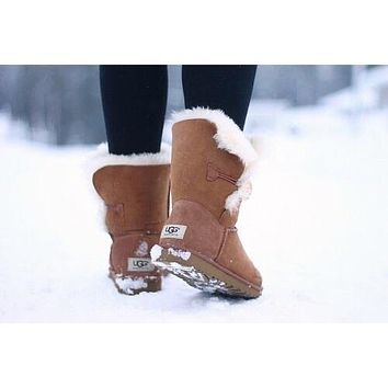 """UGG"" Women Fashion Wool Snow Boots Calfskin Shoes Brown"