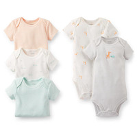 Carter's Neutral 5 Pack Animal Print/Striped Short Sleeve Bodysuits