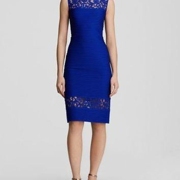 Tadashi Shoji Illusion Lace Inset Pintuck Sheath Dress