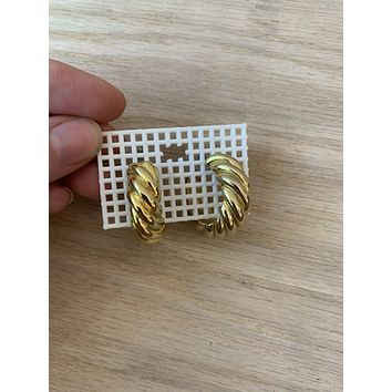 Vintage Brass Twist Hoops