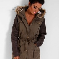 Kiona Khaki & Brown Hooded Fishtail Parka Coat | Pink Boutique