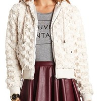 HOODED FAUX FUR ZIP JACKET