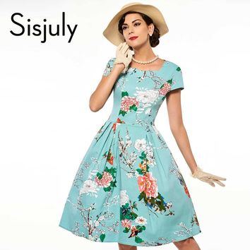 Sisjuly floral print vintage dress blue luxury party dresses style 1950s retro rockabilly dress vestido de festa vintage dresses