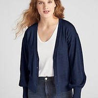 Balloon Sleeve V-Neck Cardigan Sweater in Merino Wool | Gap