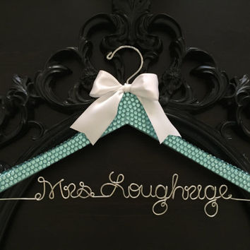 Robbins Egg Blue Bling Wedding Hanger, Aqua Blue Bride Hanger, Wedding Hanger, Bling Hanger, Bridal Hanger, Something Blue Mrs Hanger