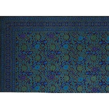 Handmade Cotton Sunflower Floral Tapestry Coverlet Tablecloth Navy Blue Twin