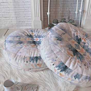 Caleb Troy arctic gold tribal Floor Pillow Round