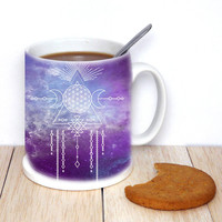 Moon Phase Mug -  Boho Gypsy Starchild Mug | Purple Cosmos Coffee Mug Gift Unique Mug | Bohemian Gift for her, sister, girlfriend, birthday