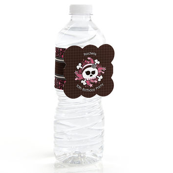 Skullicious - Girl Skull - Personalized Birthday Party Water Bottle Label Favors