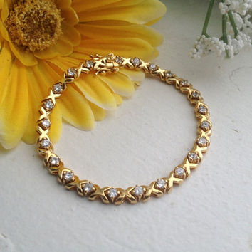 Quality Vintage XO Tennis Bracelet - 14 K gold filled, 23 Sparkling Crystals - BEAUTY!