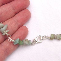 Necklace, Amazonite, Blue Green, Rosary Chain, Wirework, Long, Ooak, handcrafted, wire wrapped, hand forged