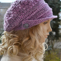 Purple blue  Crocheted  PEAKED CAP beanie Slouchy Winter Fashion , very warm,women hat,Girls Hat,unique gifts