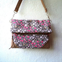 Vegan Clutch, handbag,  foldover clutch, floral pattern, pink, fuhcsia and brown, detachable strap, Ready To Ship.