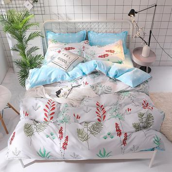 Leaves Printed Soft Bed Sheet Pillowcase Duvet Cover Sets Bedding Sets Single Double Queen king Size High Quality new bedclothes