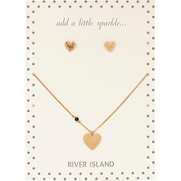 River Island Womens Gold tone heart stud and necklace set