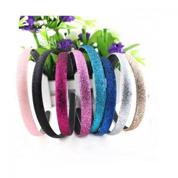Women's Cute Lovely Fashion Glitter Powder Covered Leather Plastic Headband Hair Accessories Attractive Hairband