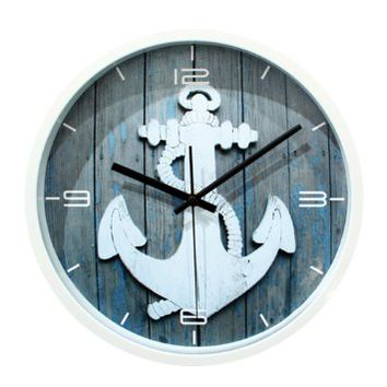 ZLYC Vintage 12 Inch Plastic Wood Tone 3D Effect Anchor Nautical No Ticking Quartz Round Wall Clock