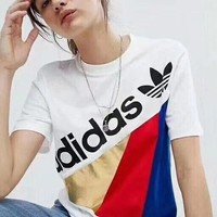 Adidas white contrast short sleeve top blouse shirt