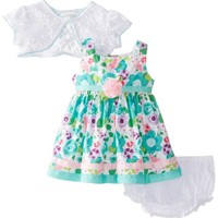 Youngland Baby-Girls Newborn Floral Print Dress, Turquoise/Multi, 6-9 Months