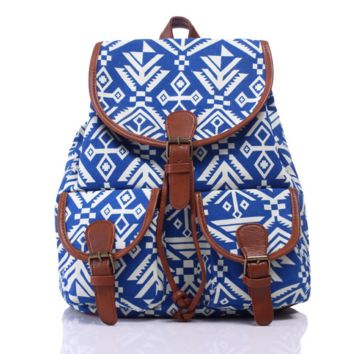 Navy Blue Ethnic Aztec Geometry Canvas Backpack Casual Daypack