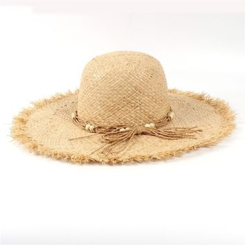 LUNA & TERRA - Straw Raffia Toquilla Handmade Folding Panama Sun Hat for Women