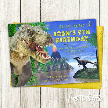 Dinosaur Birthday Party Invitation - 3D Dinosaurs - Customised invite file with your details - print at home