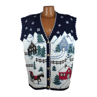 Ugly Christmas Sweater Vintage 1980s Tacky Holiday Cardigan Vest Party Women's size 2X