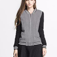 Black Long Sleeve Houndstooth Pattern Jacket