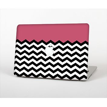The Solid Pink with Black & White Chevron Pattern Skin Set for the Apple MacBook Air 13""