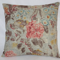 """Blue Grey & Coral Floral Pillow, Waverly After Glow Twilight, Pink, Turquoise, Yellow, Brown, 17"""" Square Linen Blend,  Ready Ship"""