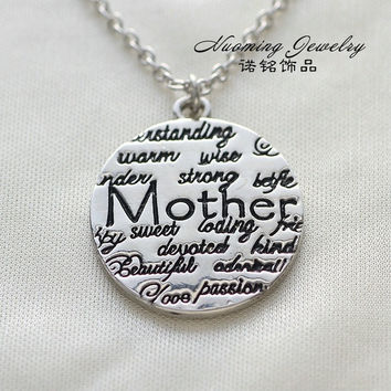 [flash Vintage Sterling Silver Initial Round Pendant Necklace for Mother Mother's Day Gift = 5988048321