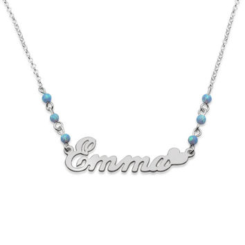 "925 Sterling Silver ""Elegant Love"" Style with Blue Opal Beads Name Necklace"