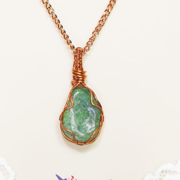 Wire Wrapped Necklace, Copper Wire and Stone Pendant, Green Natural Stone, Artisan Made Jewelry
