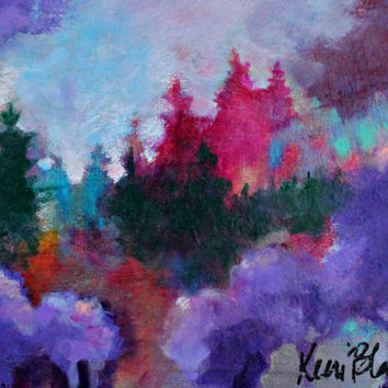 "Small Abstract Landscape, Colorful, Abstract Trees, Original, ""Waiting"" 8x10"""
