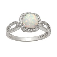 Sterling Silver Lab-Created Opal & Lab-Created White Sapphire Halo Ring (Stone/White/Sapphire)