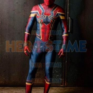 High Quality 3D Print Iron Spider Costume Spandex Lycra Spider-Man Homecoming Halloween Party Iron Spider Cosplay Costume