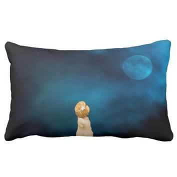 Angel girl a blue night watching the full moon pillow