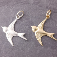 Add On Charms - flying bird charm, silver bird charm, gold bird charm, charm bracelet, charm necklace, sterling silver, add charm
