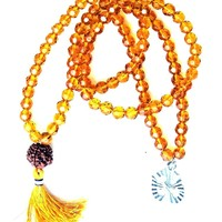 Yoga Gift- Brown Crystal Beads Prayer Mala Meditation Japamala Om Pendant Necklace
