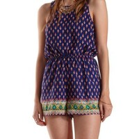 Navy Combo Open Back Border Print Romper by Charlotte Russe