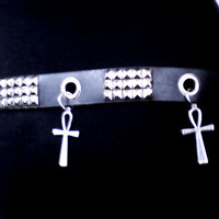 Black and Silver Ankh Punk/Goth Belt by DeadlySinners on Etsy