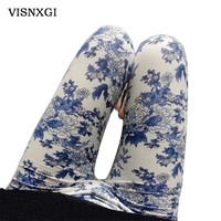 New 2017 Spring National Ethnic Style Retro Graffiti  Paintings Printing Flowers Trousers Printed High Elasticity Leggings