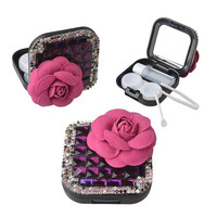 3D Bling Crystal Rhinestones Sparkle Design Contact Lens Case w Bottle Travel Kit