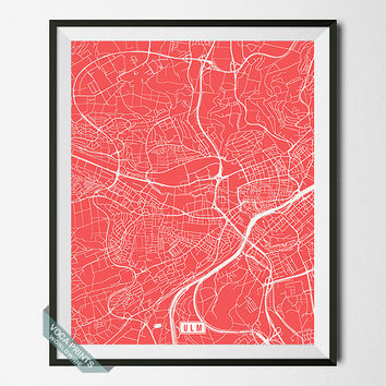 Ulm Print, Germany Poster, Ulm Map, Germany Print, Ulm Poster, Germany Map, Street Map Print, Home Decor, Wall Art