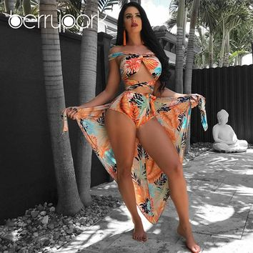 BerryPark Orange Leaf Print Cross Bandage Bandeau Bikini+Cover Up 3PCS Set Swimsuit 2019 Summer Women Swim Bath Suit Beach Wear