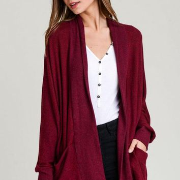 Follow Along Cardigan - Burgundy