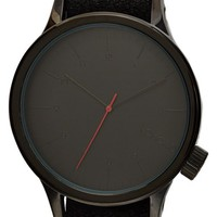 Men's Komono 'Winston' Round Dial Leather Strap Watch, 45mm - Black