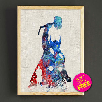 Thor poster, superhero poster, Thor print, Marvel poster, Art, Heroes print, Avengers poster, Wall art, Gift for him, art decor - 395s2g